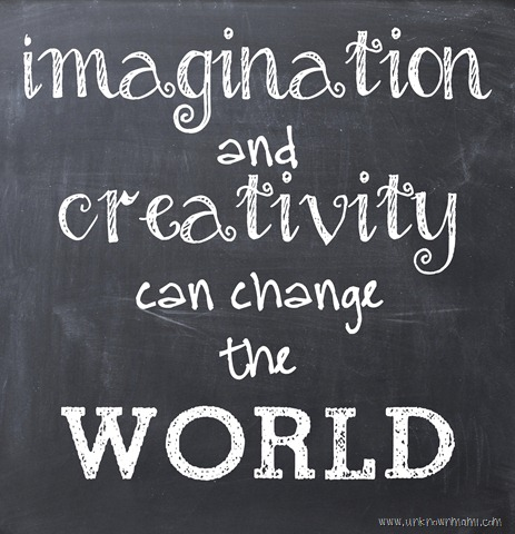 blackboard drawing that says  imagination and creativity can change the WORLD